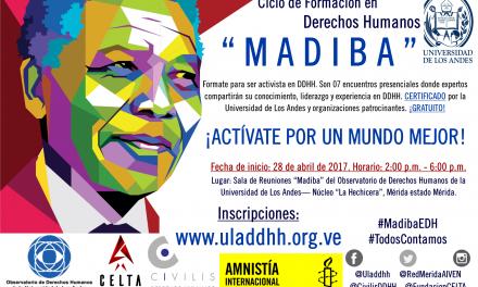 """El Observatorio de DDHH de la ULA desarrolla un Ciclo de Formación para Activistas y Defensores de DDHH con el nombre de """"Madiba"""""""