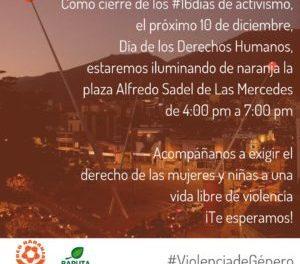 Red Naranja iluminará la plaza Alfredo Sadel para exigir la eliminación de la violencia de género
