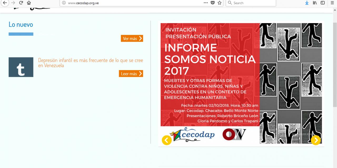 """Cecocap y OVV revelan en su informe """"Somos Noticias 2017""""  que un niño muere cada 8 horas"""