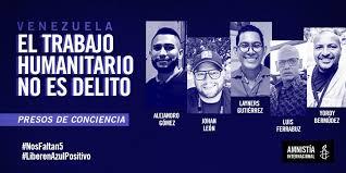 Amnistía Internacional nombra presos de conciencia a cinco miembros de la ONG humanitaria Azul Positivo