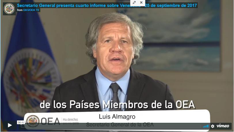 Secretario General de la OEA presenta 4to informe sobre Venezuela