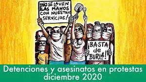 Detenciones arbitrarias y asesinatos en protestas / diciembre 2020 con Estado de alarma