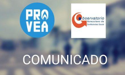 Provea y OVCS exigen garantizar el derecho a la manifestación pacífica, libertad de detenidos y cese de la represión