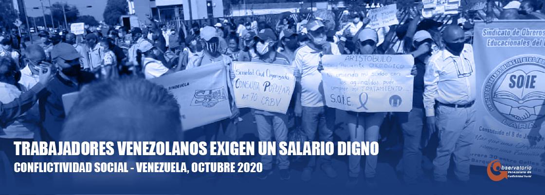 El Observatorio Venezolano de Conflictividad Social registró 1.484 manifestaciones en octubre de 2020, equivalente a 49 diarias