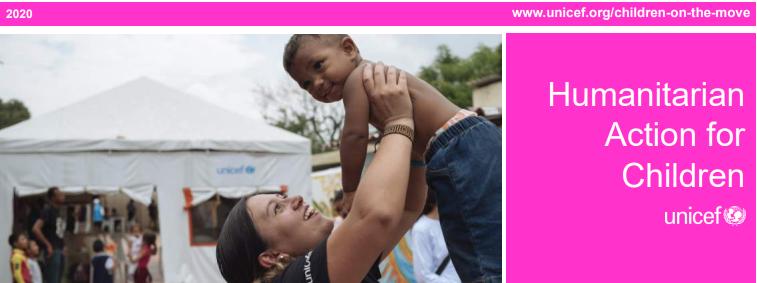 UNICEF estima que en 2020 1.9 millones de niños, niñas y adolescentes venezolanos migrantes en la región necesitarán de asistencia humanitaria y prote