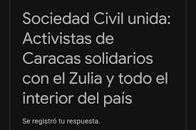 Comunicado Conjunto: Sociedad Civil unida: Activistas de Caracas solidarios con el Zulia y todo el interior del país